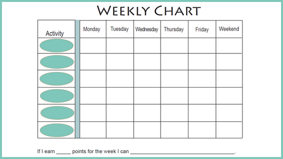 photo about Free Printable Behavior Charts named No cost Weekly Behaviors Chart (for Adolescents) weekly charts