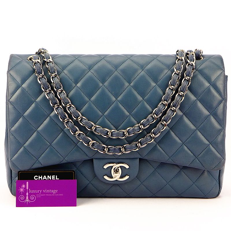 CHANEL Maxi Jumbo Navy Blue Lambskin Double Flap Silver Hardware Good  Condition Ref.code-(BVESU-1) 2c09d3aede999