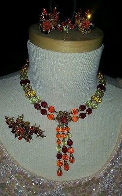 NICEST-Vintage-50s-Eugene-Demi-Parure-Multi-Colored-Crystal-Rhinestone-Ive-Seen