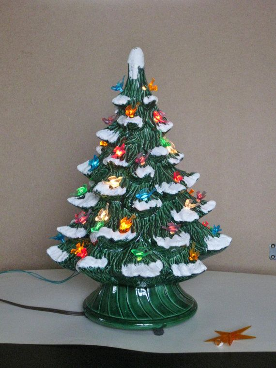 Ceramic Tabletop Christmas Tree With Lights Inspiration Vintage Ceramic Christmas Tree Electric Plastic Bird Bulbs Snow Decorating Design