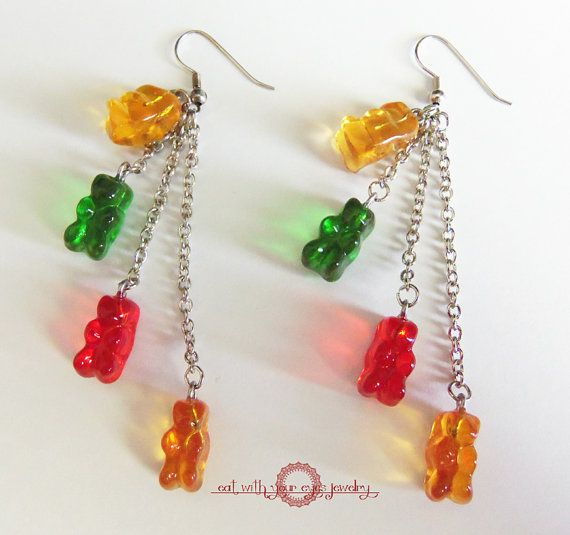 Tiny Gummi Bear Cluster Dangle Earrings Made by EatWithYourEyes, $16.00