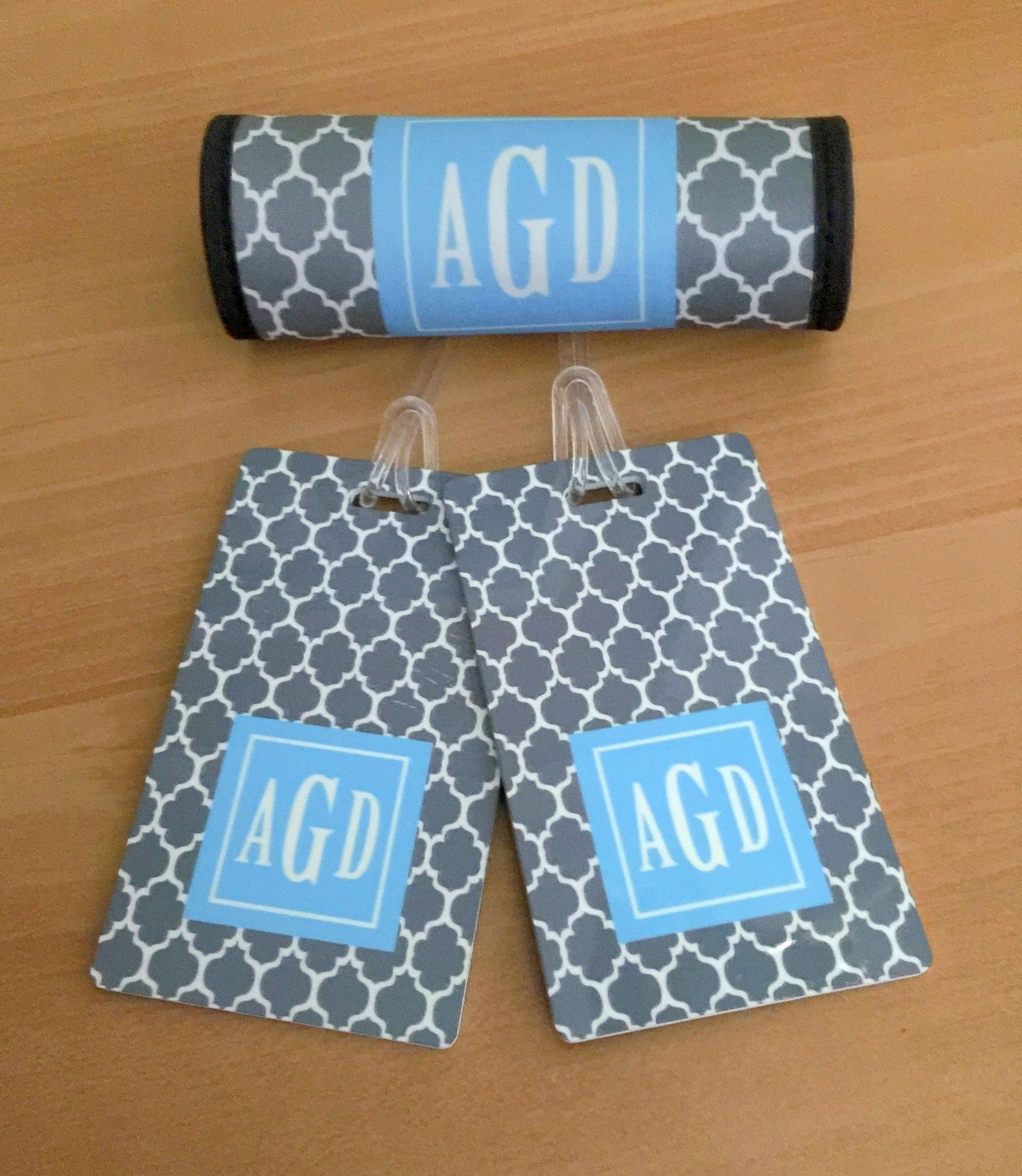 Personalized Luggage Tags And Luggage Wrap Set Monogrammed Luggage
