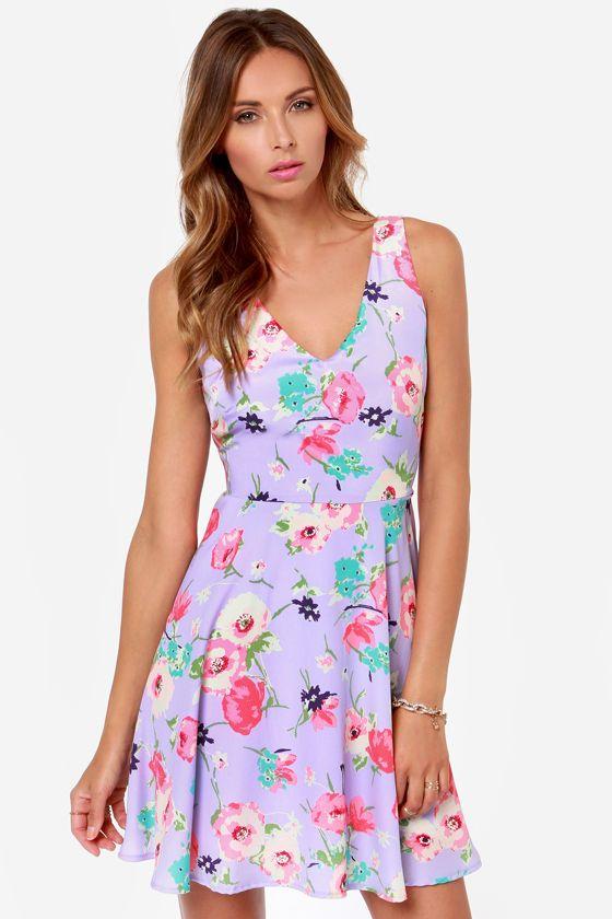 Grand Poppy Lavender Floral Print Dress at LuLus.com!