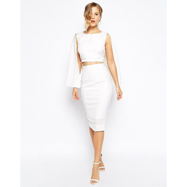 Forever Unique Mesh Insert Midi Pencil Skirt featuring polyvore, fashion, clothing, skirts, ivory, zipper pencil skirt, mid calf pencil skirt, white knee length pencil skirt, fitted pencil skirt and high waisted midi skirt
