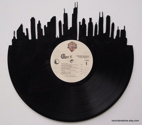 Chicago Skyline Silhouette Vinyl Record Wall Art Peinture Dessin
