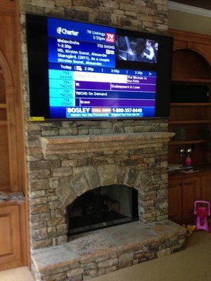 80 Inch TV On Wall | 80 inch tv over stacked stone fireplace ...