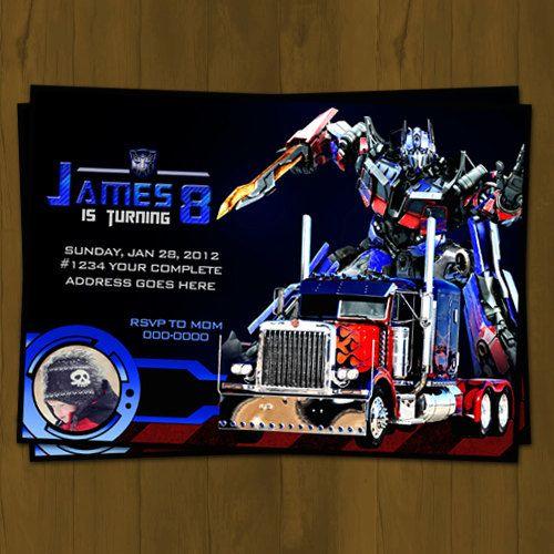 optimus prime transformers birthday invitation from splashbox,