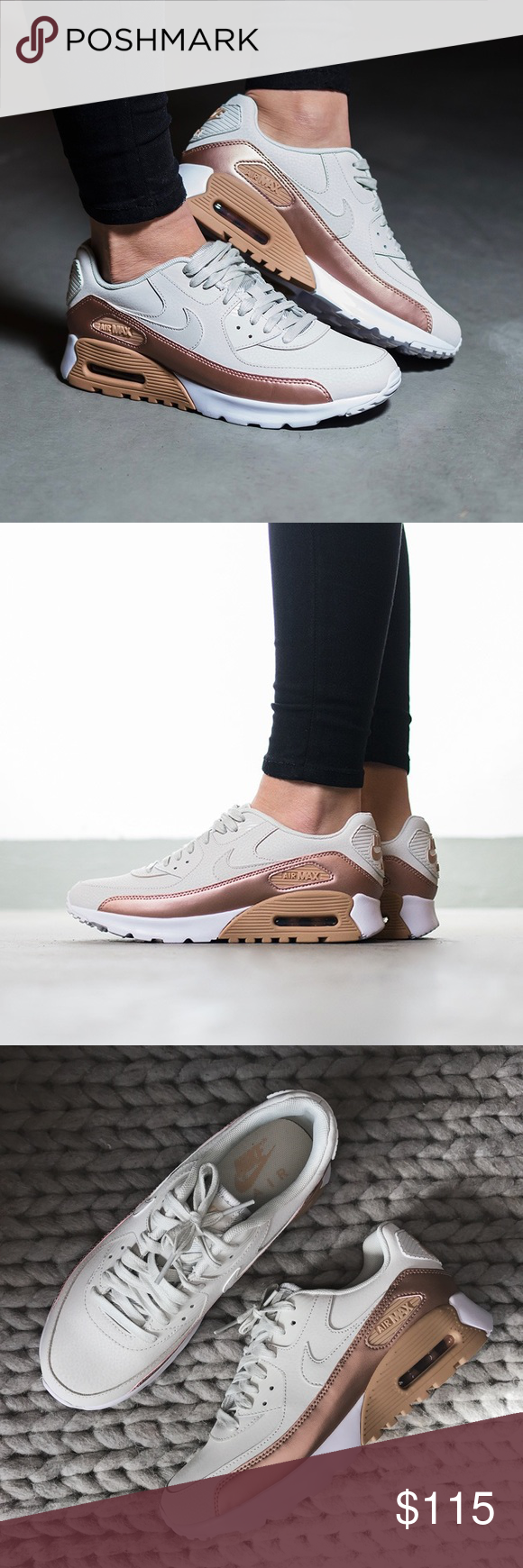 186dba69f8 Nike Air Max 90 Ultra Nude + Copper SE Sneakers •A subtle metallic sheen  adds a fresh twist to a standout sneaker featuring a cushioned Max Air unit  that ...