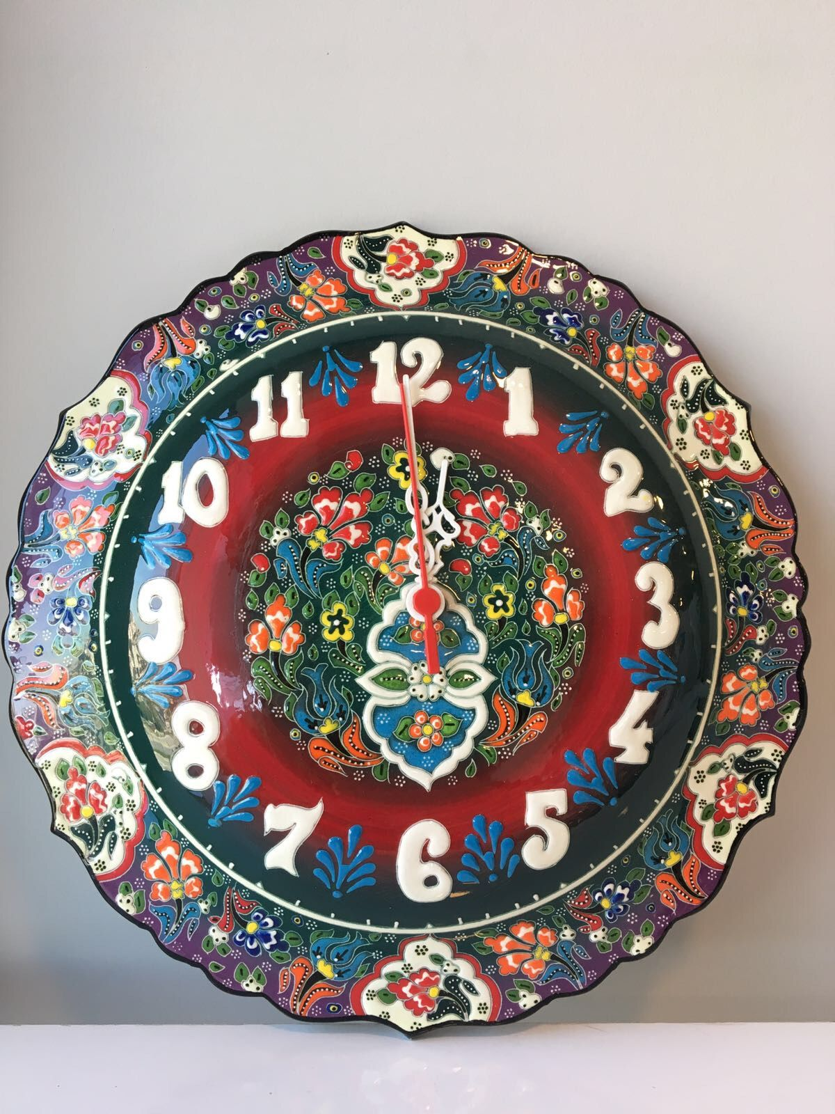 Turkish Ceramic Clock Extra Large 35 Cm 13 7