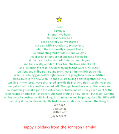 How to create a Christmas letter in shape of tree