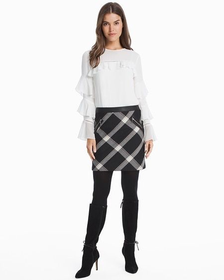 5f66fdba53 Women's Leather Trim Plaid Boot Skirt by White House Black Market ...