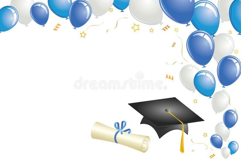 Graduation Design With Blue Balloons Graduation Design With Blue