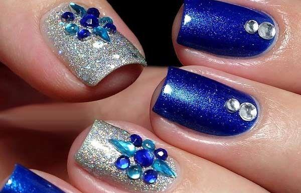 Unas Decoradas Color Azul Unas Decoradas Gem Nails Nails Y Nail Art
