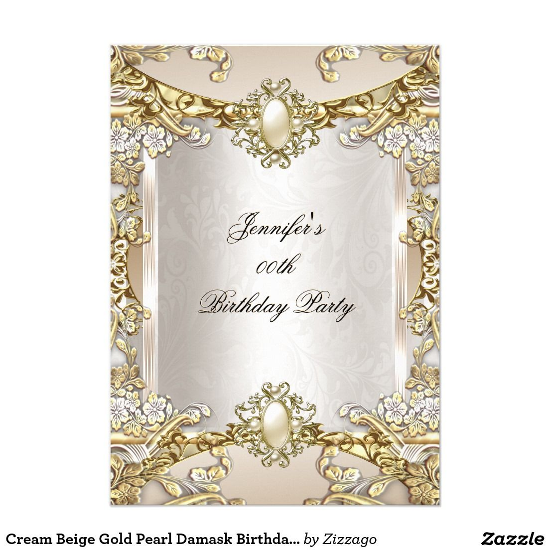 Cream Beige Gold Pearl Damask Birthday Party 2 Card | Gold pearl ...