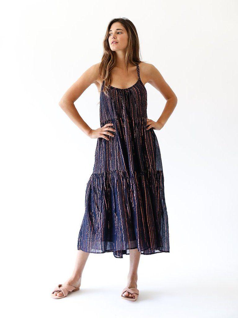 Midnight Lurex Cotton Gauze Midi Dress Striped Lurex Rope Tassels With Hand Beaded Sequins Tiered Skirt Lined Size 4 Measu Samara Dress Dresses Tier Skirt [ 1024 x 768 Pixel ]