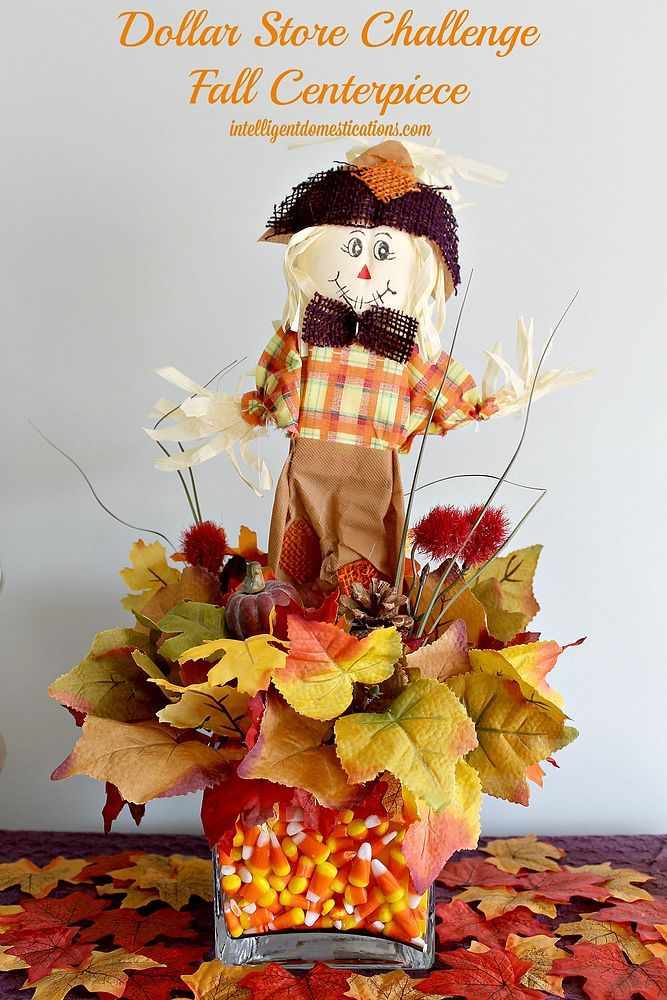 Scarecrow Candy Corn Centerpiece A Dollar Store Craft