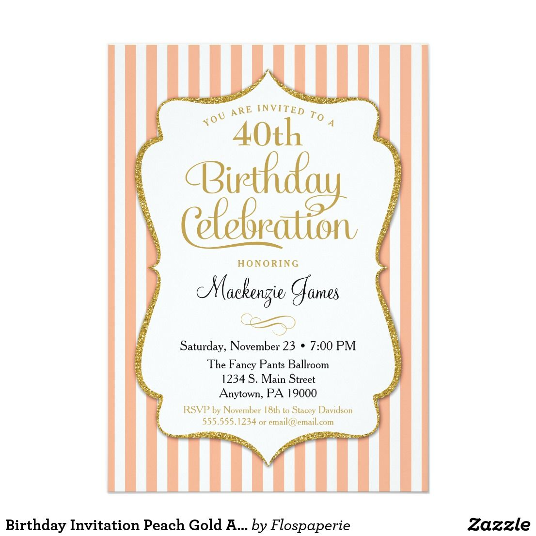 Birthday Invitation Peach Gold Adult Stripes An Elegant Party In And Featuring White Glitter Text