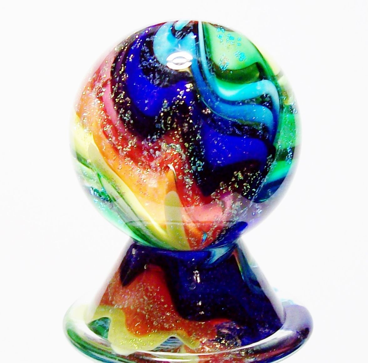 Eddie Seese Art Glass Marbles 1 1 2 Rainbow Lobed Dichroic Marble Stand Glass Marbles Glass Art Glass Collection