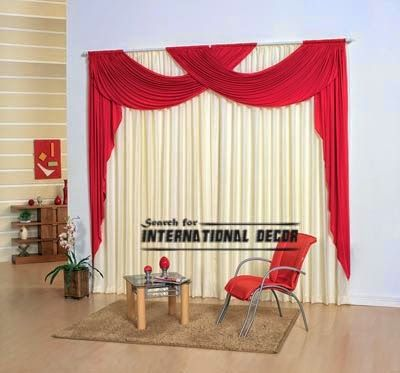 Modern Red Scarf Curtain Design For Living Room, Red Curtains, Scarf  Curtains
