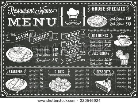 A Full Vector Template Chalkboard Menu For Restaurant And Snack Bars - Snack bar menu template