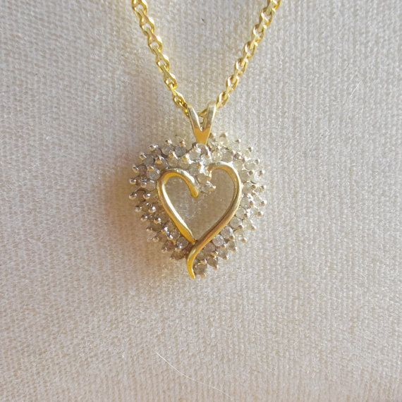 Diamond Heart Pendant Gold Chain Combo by GalesVintageShoppe