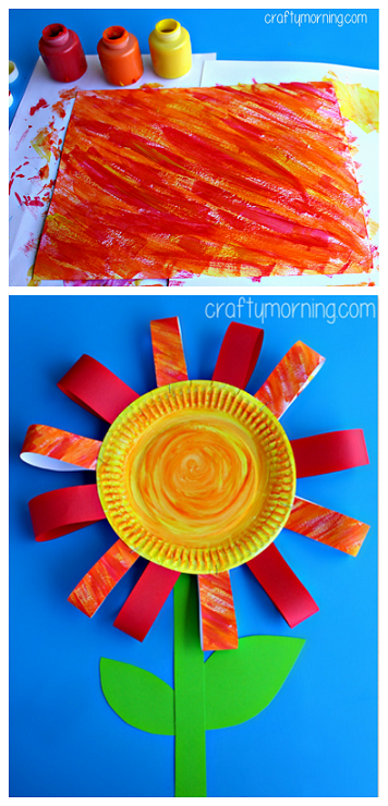 Big beautiful paper plate flower craft for kids to make! #Summer #Spring | CraftyMorning.com : paper plate flower craft - pezcame.com