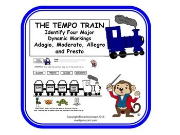 FUN MUSIC TEMPO TRAIN WORKSHEET!!!- Great for Assessment & Subs! w ...
