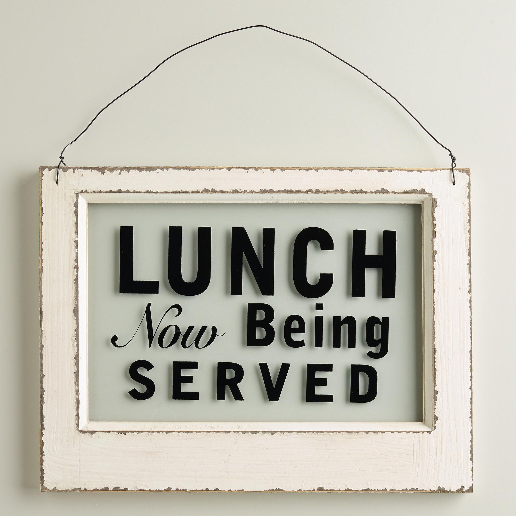 Cute Kitchen Signs: Wood And Glass Lunch Sign