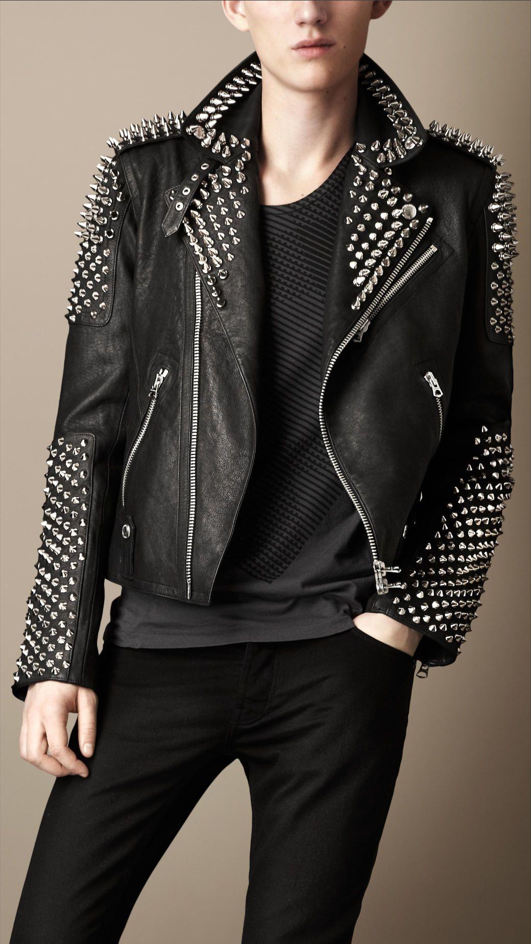 Multi Stud Biker Jacket Studded Leather Jacket Leather Jacket Brown Leather Jacket Men [ 1849 x 1040 Pixel ]