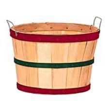 Texas Basket Co. Natural Half Bushel Basket w/ Red & Green Hoops Item 214704
