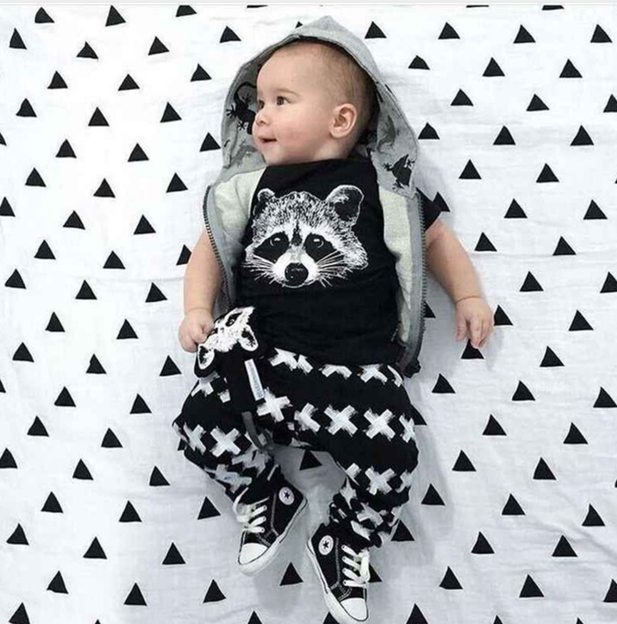 raccoon x set  playsuits newborn baby boys and baby boys clothes - black white