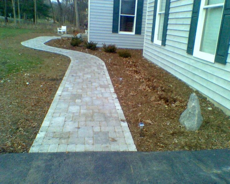 Pavers For Walkways Ideas Straight And Curved Walkway With Pavers Stone Walkway Walkway Sidewalk