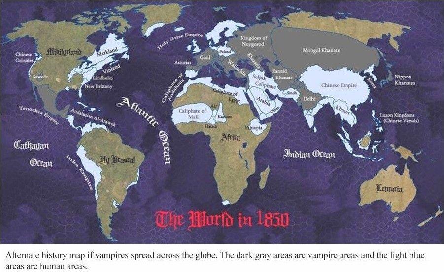 1850 Alternate history map if vampires spread