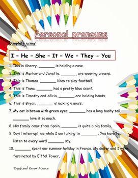 Personal Pronouns | Grammar | Pronoun worksheets, English test