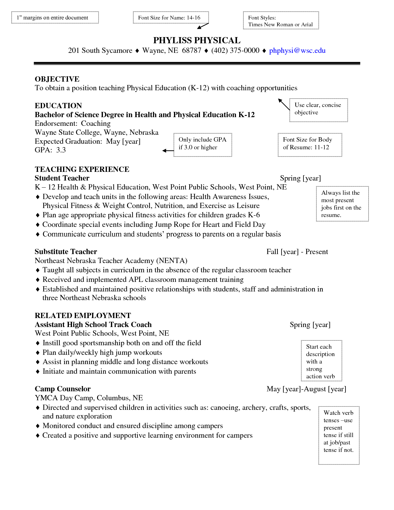 Samples Of Special Education Teacher Resumes  Physical Education Teacher Resume