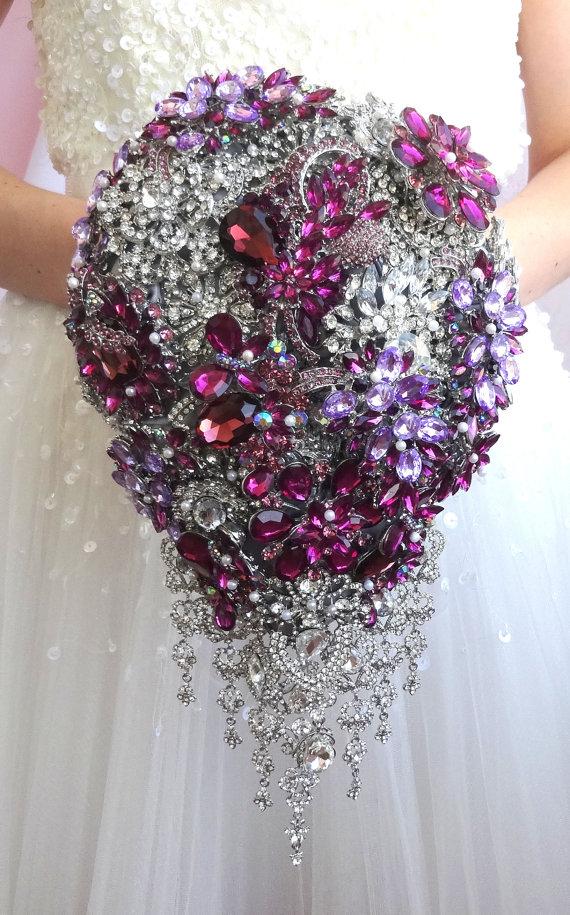 Purple teardrop brooch bouquet. Full jeweled wedding bridal ...