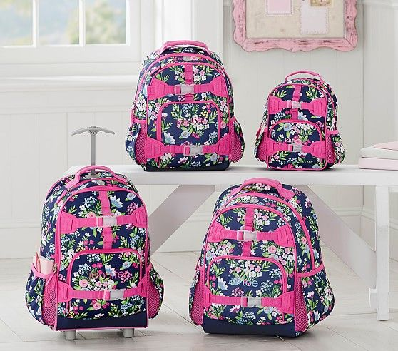 Mackenzie Navy Flower Bouquet Backpack School Girls Backpacks