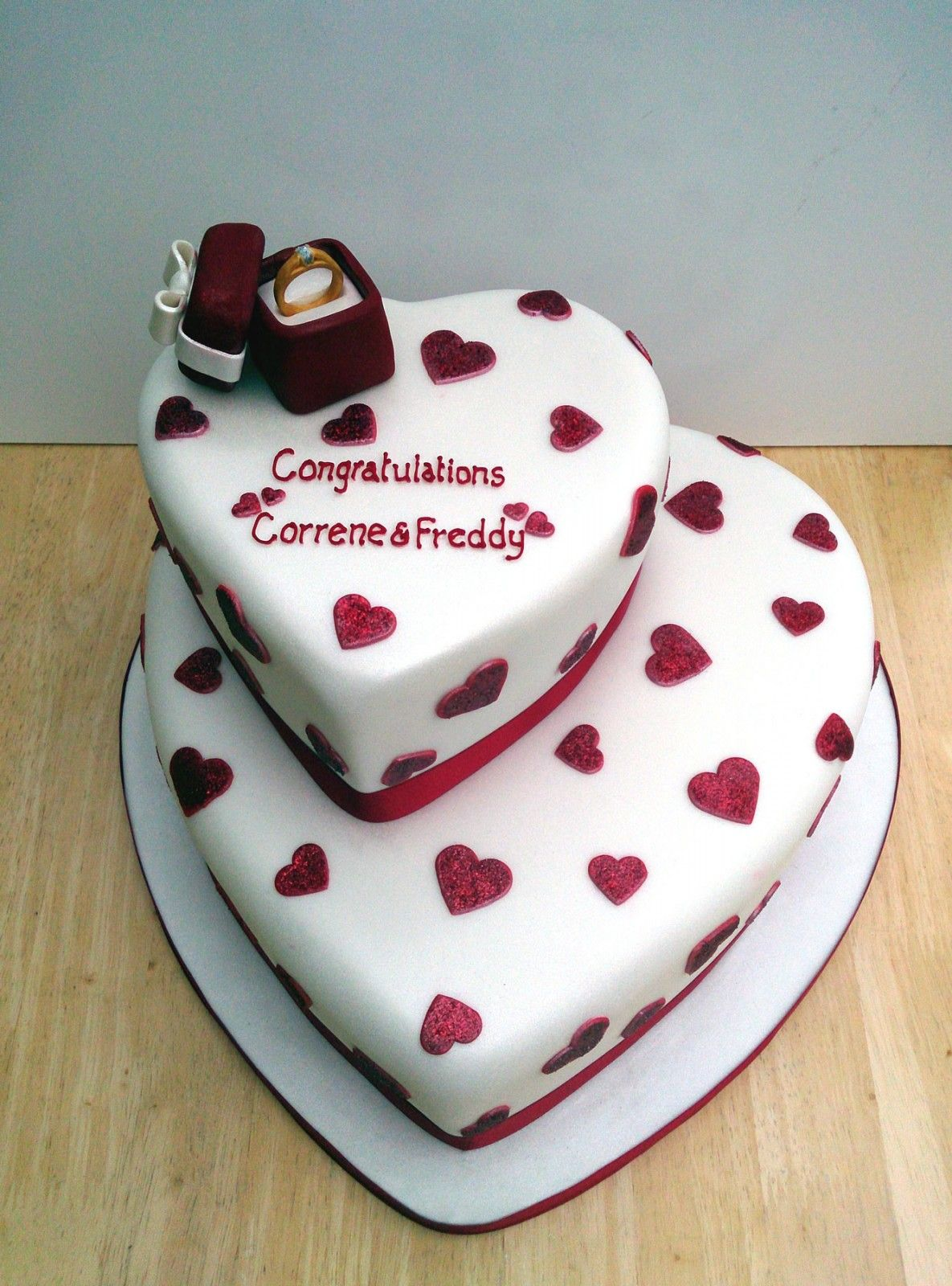 wedding ring cake topper Heart Shaped Engagement Ring 2 Heart Shaped Engagement Cake