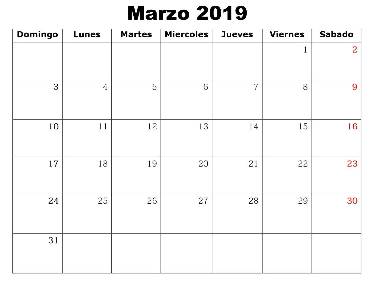 Marzo Calendario.Imprimible Marzo Calendario 2019 Palabra March 2019 Calendar