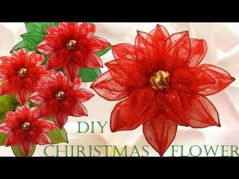 Poinsettia Christmas Decorations Poinsetia How To Make A Good Night Flower Christmas Decorations Youtube Christmas Flowers Diy Flowers Christmas Crafts