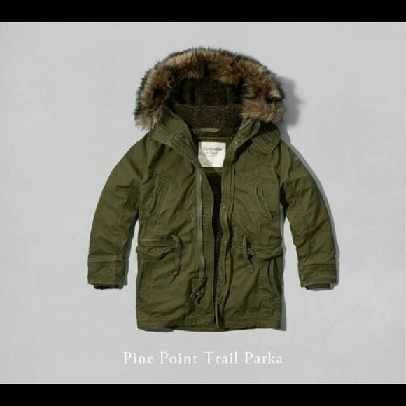Clothes · Mens Abercrombie & Fitch Green Parka Pine Point Trail Parka Olive  Green. Lofty faux fur