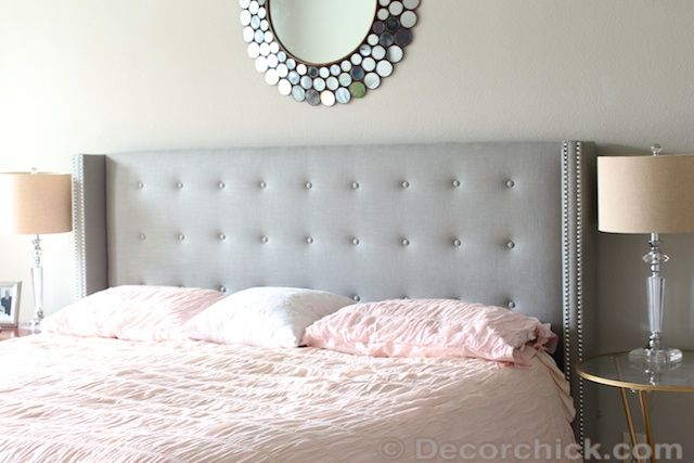 Tufted Linen Grey Upholstered Headboard With Nailhead Trim Feather My Nest Gray Upholstered
