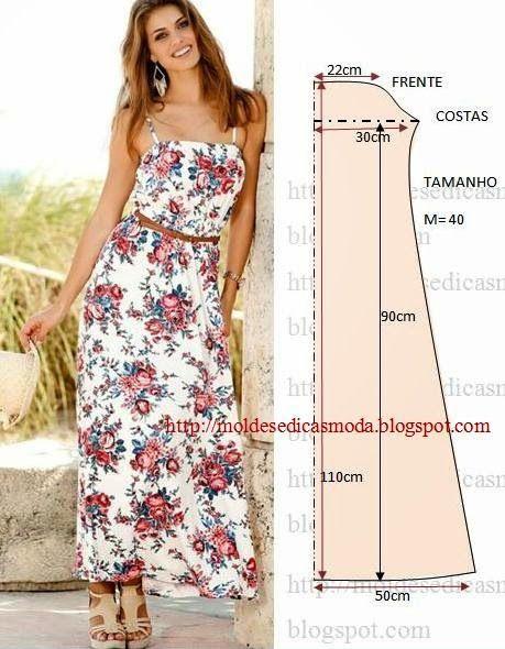 Molde de vestido longo de tecido