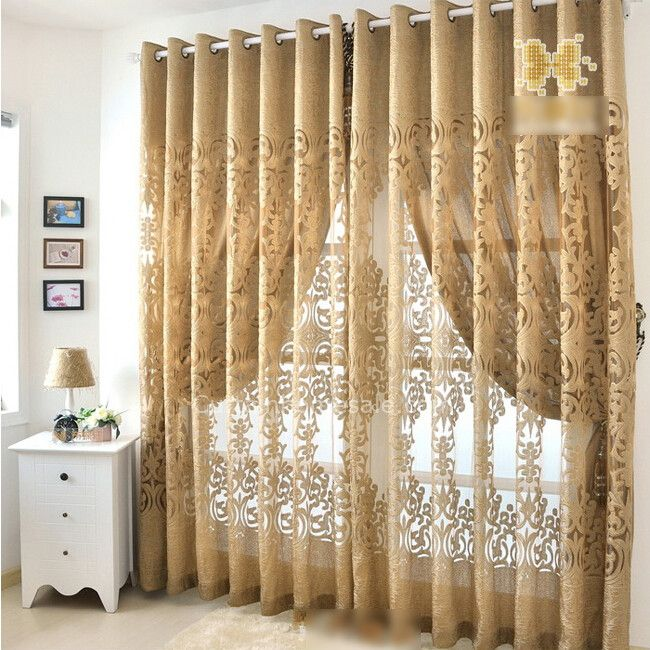 Dark Gold European Design Beautiful Bedroom Curtains In