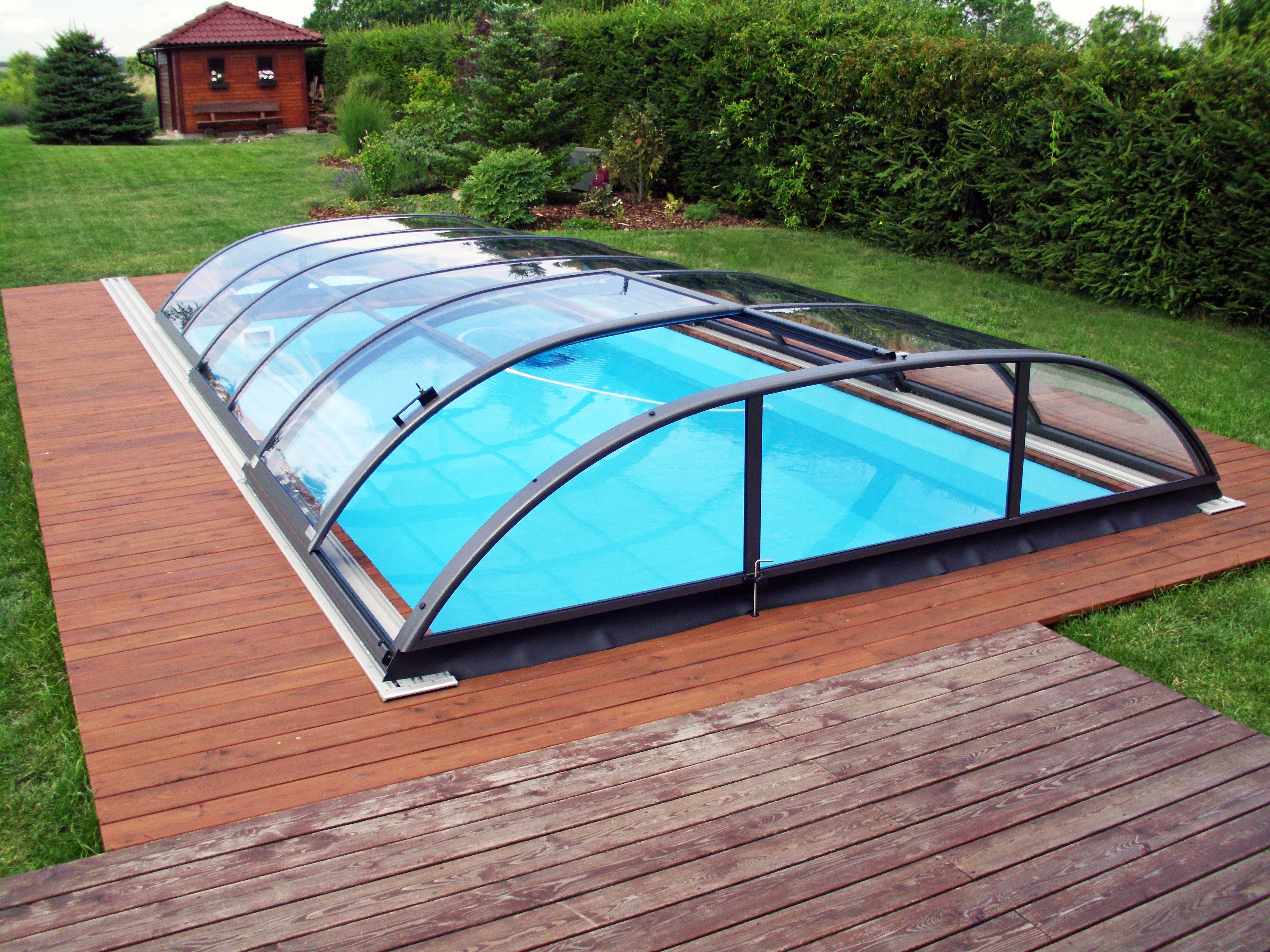 Azure Flat Compact Budget Range Of Low Level Pool Enclosures By Alukov Pool Enclosures Pool Budget Enclosures