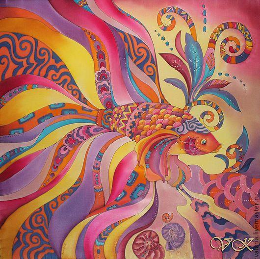 """Шали, палантины ручной работы. Ярмарка Мастеров - ручная работа. Купить Батик платок """"Золотая рыбка"""". Handmade. Рисунок, рыбы"""