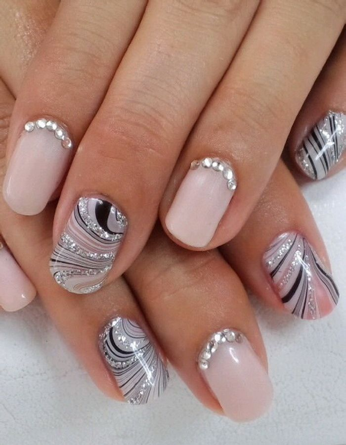 Water marble nail design with diamonds - Dark Nail Art Designs - Google Search Nails Pinterest Dark