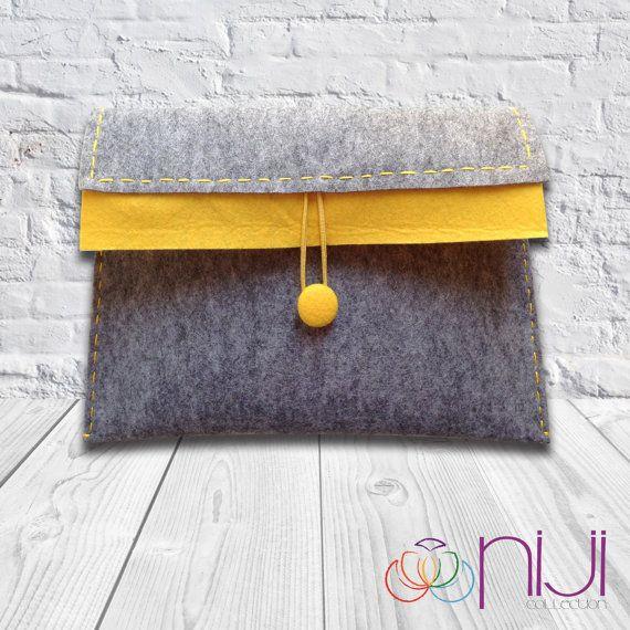Fait main, feutrine iPad Sleeve, iPad Case, feutre iPad Cover gris et jaune, iPad sac sur-mesure pour iPad1 2 3 4 nouveau