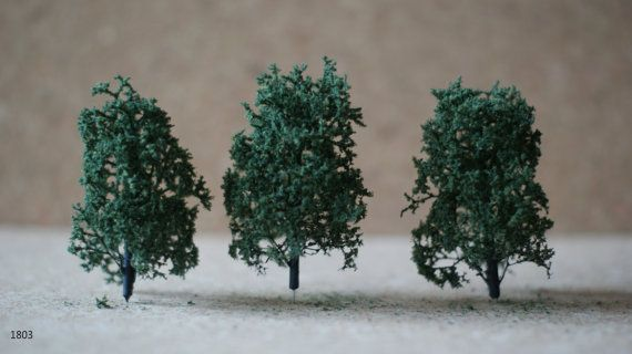 Miniature Beech Tree set Of 3 1.97-4.33 by ModelsAndCraftShop