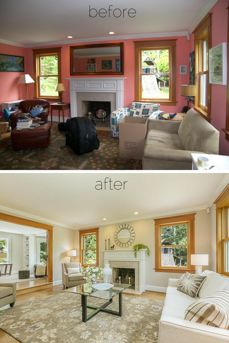 Before After Living Room Staging Painting Also Made A Big